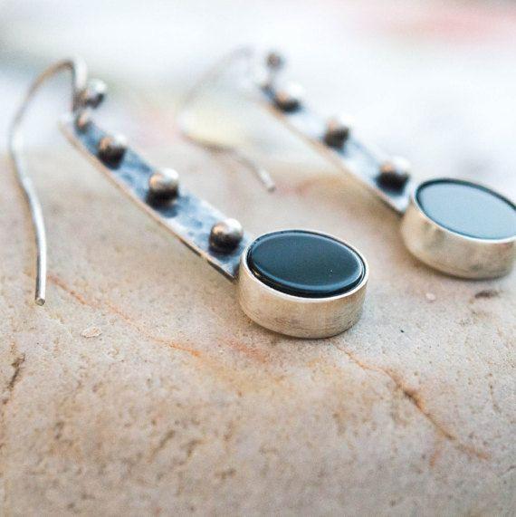 Green Agate earrings Sterling silver Sterling silver by SILVERstro