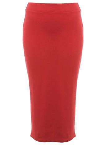Roter Bleistiftrock mit Rippentextur