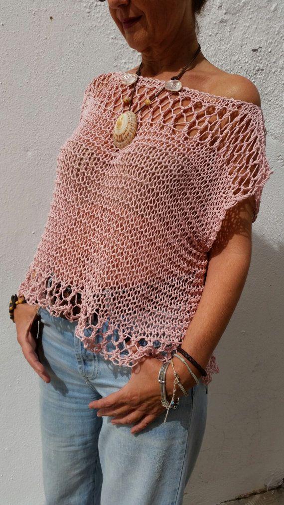 Jersey de punto rosa palo suéter de mujer top de verano
