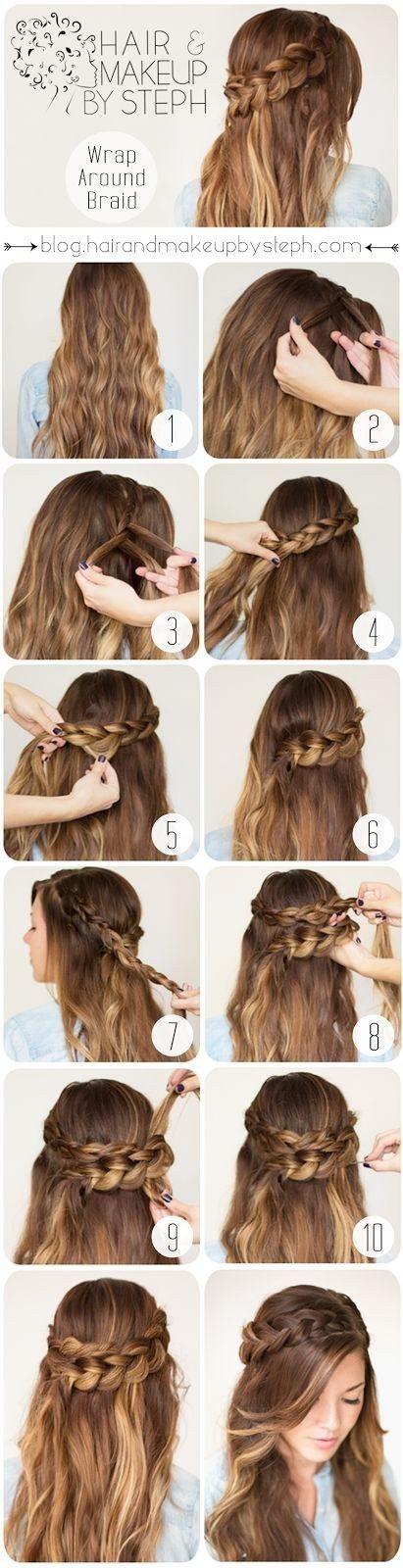 Corona de trenzas (cabello suelto):