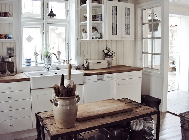 Rustic kitchen from norway kitchens pinterest for Rustic white cabinets