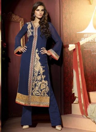 Opulent Nevy Blue Georgette With Resham Work Pakistani Suit