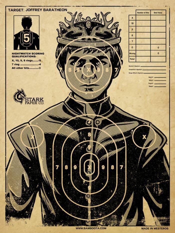 King Joffrey Baratheon.....make this little bastard the target.