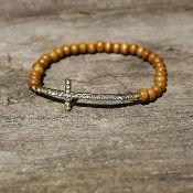 Wooden Bead Sideways Cross Bracelet