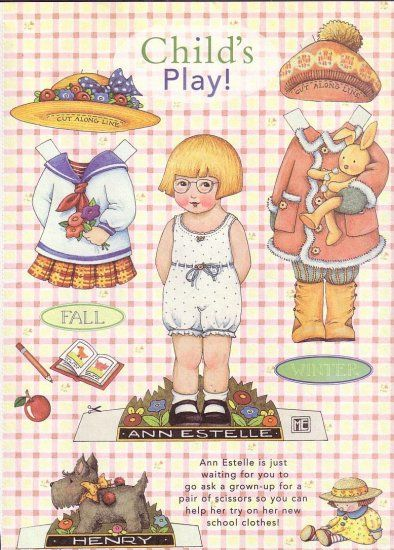 ANN ESTELLE Paper Doll by Mary Engelbreit from Fall/New School Clothes in Home Companion Magazine c. 1990s