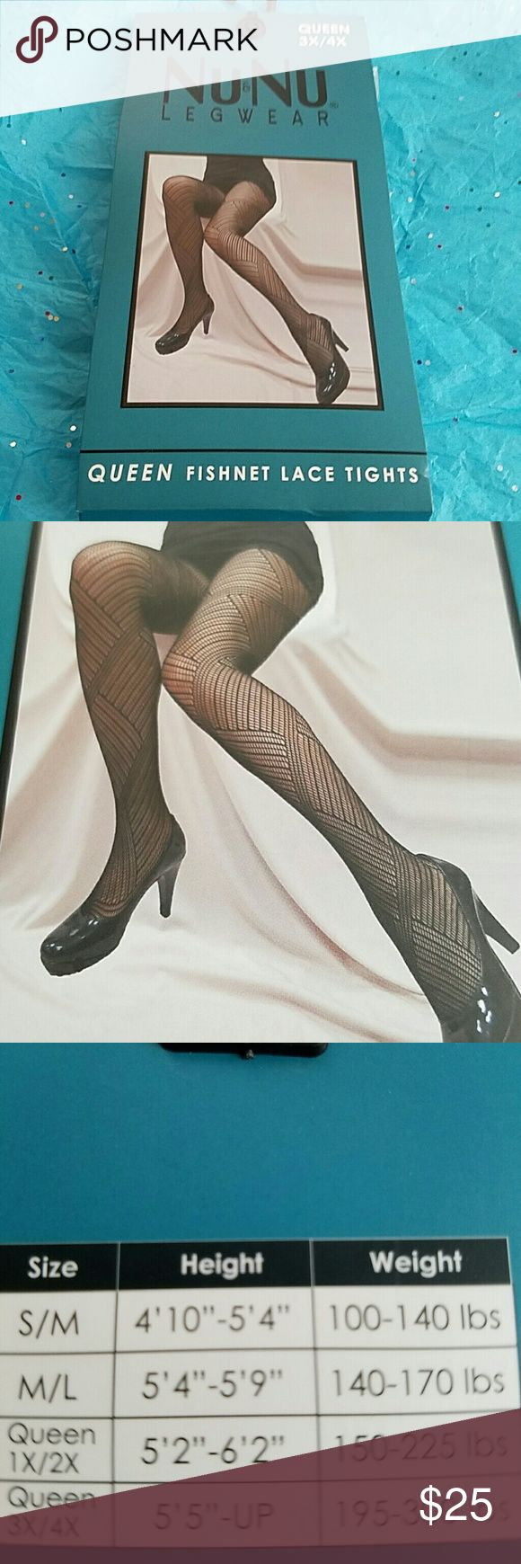 "3X/4X Queen size fishnet tights panty hose Chervon Offered is a sexy pair of black fishnet tights or panty hose with a large chevron pattern. New with tags and in immaculate condition.  Made by Nu&Nu. Queen size 3X/4X. 5'5"" -up, 195 - 300 lbs. 11 styles available so check out my other listings.  Style #11 Nu&Nu Accessories Hosiery & Socks"