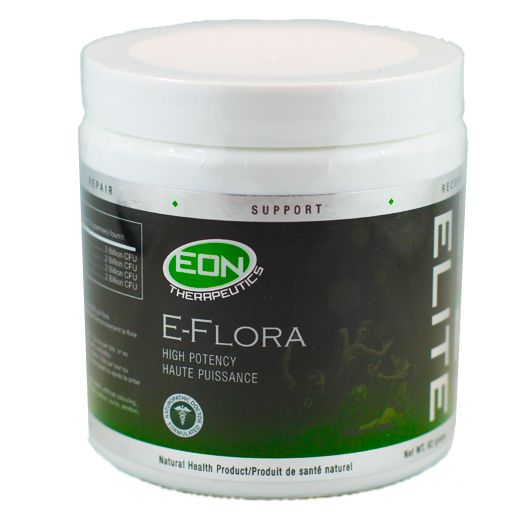 EON's E-Flora provides 9 billion CFU of the beneficial bacteria Lactobacillus acidophilus, Lactobacillus rhamnosus, Bifidobacterium lactis, Bifidobacterium bifidum.  Common issues such as diet, illness, stress, exercise and travel can disrupt the body's natural balance of good bacteria.  Ingesting adequate amounts of microflora will help populate the intestines with beneficial bacteria for immediate immune boosting and digestive system support.