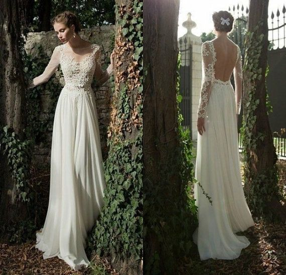 Superb Ivory Lace Chiffon Long Sleeve A line Wedding Dress Beach Bridal Gown Dresses Backless Open
