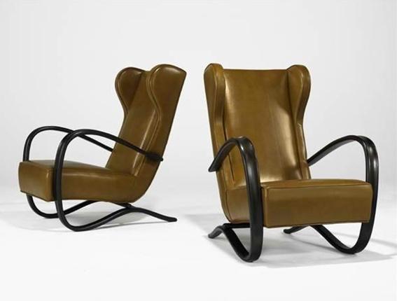 Jindřich Halabala - wingback lounge chairs - 1940s