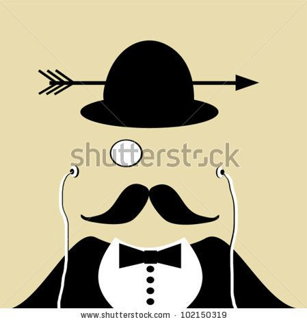 481f0e490e9f3 stock vector   design of man wearing earphones and monocle with arrow  through bowler hat