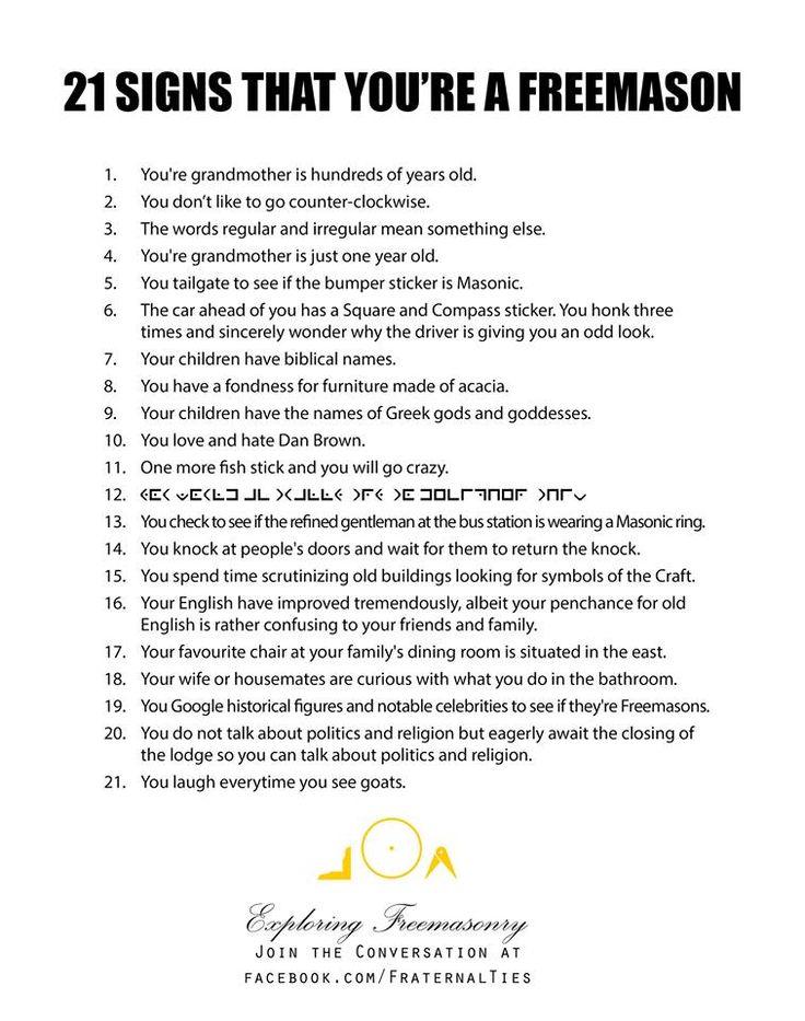 The 371 best masonic freemasonry images on pinterest freemasonry 21 signs that you are a freemason altavistaventures Images