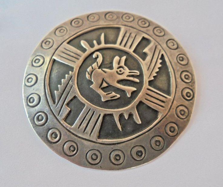 Vtg Talleres de los Ballesteros Mexico Sterling Silver Mayan/Aztec Pendant Pin #LosBallesteros