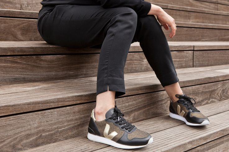 Our favourite sneaker brand Veja! ethically made in Brazil. Love these gold mesh holiday low top's in our stores now!