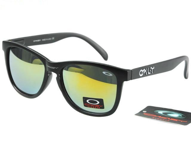 2017 new Oakley Frogskins Sunglasses matte black frames yellow-blue Iridium on sale online, save up to 90% off being unfaithful limited offer, no tax and free shipping.#oakley #oakleysunglasses #sportsunglasses #sunglasses #ok #o