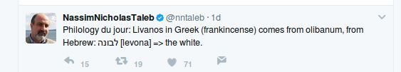Philology du jour: Livanos in Greek (frankincense) comes from olibanum, from Hebrew: לבונה [levona] => the white. Nassim Nicholas Taleb https://twitter.com/nntaleb/status/873125984358121472