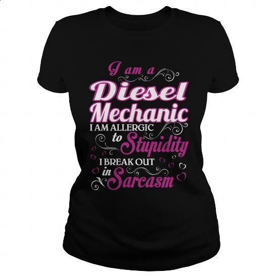 Diesel Mechanic-WOMEN - #funny tshirts #long sleeve shirt. PURCHASE NOW => https://www.sunfrog.com/LifeStyle/Diesel-Mechanic-WOMEN-143786479-Black-Ladies.html?60505