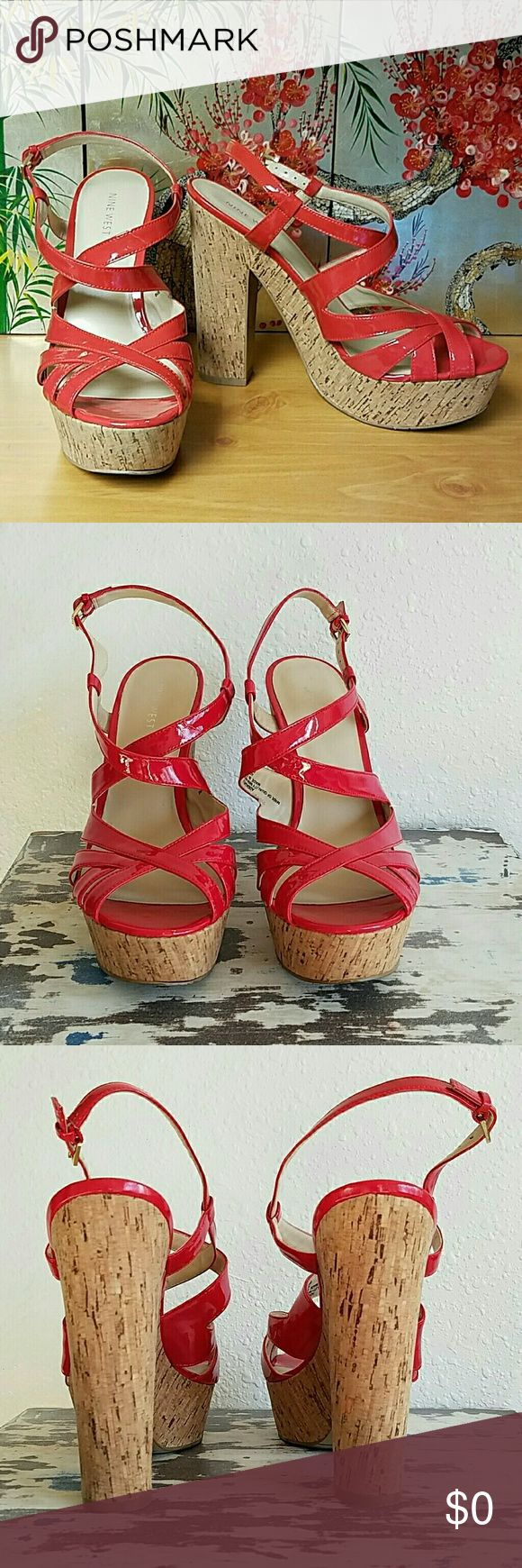 """Nine West """"Addagirl"""" Sandals Nine West """"Addagirl"""" Strapy Heeled/Platform Sandals Color: Red (w/ pink orange undertone) Features: 5 1/2"""" Heel w/ 2"""" Platform Ankle strap w/ adjustable buckle Cork Heels Slingback Backs Faux Shiny Patent Leather, all man made material Minor wear to heels & soles. ONLY defect I see is on the right shoe, the """"sole"""" has separated from the base (see last pic). I put some glue in there, but a Cobbler could easily glue it properly. No box.  ✔Questions ✔Offers 🚫No…"""