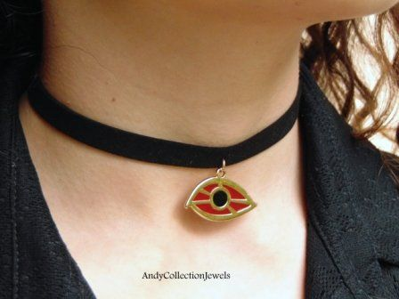 Women's Black Wide Lace Choker with Gold-Tone Evil Eye Pendant and Burgundy Enamel