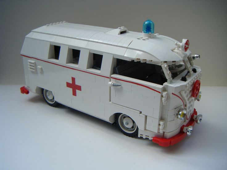 This was the hardest too make, just finding white lego that had not gone yellow.., was bad enough. Started off with a barn door microbus, then took it apart to relocate the petrol tank & spare wheel and add a petrol filler to the body. Then work out how to have the opening tailgate, then just like volkswagen, alter the rear suspension for ride quality, in this case : too take the extra interior weight.