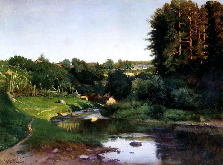 """Крыжицкий Константин Яковлевич (1858-1911 г.), """"Деревня на берегу речки"""""""