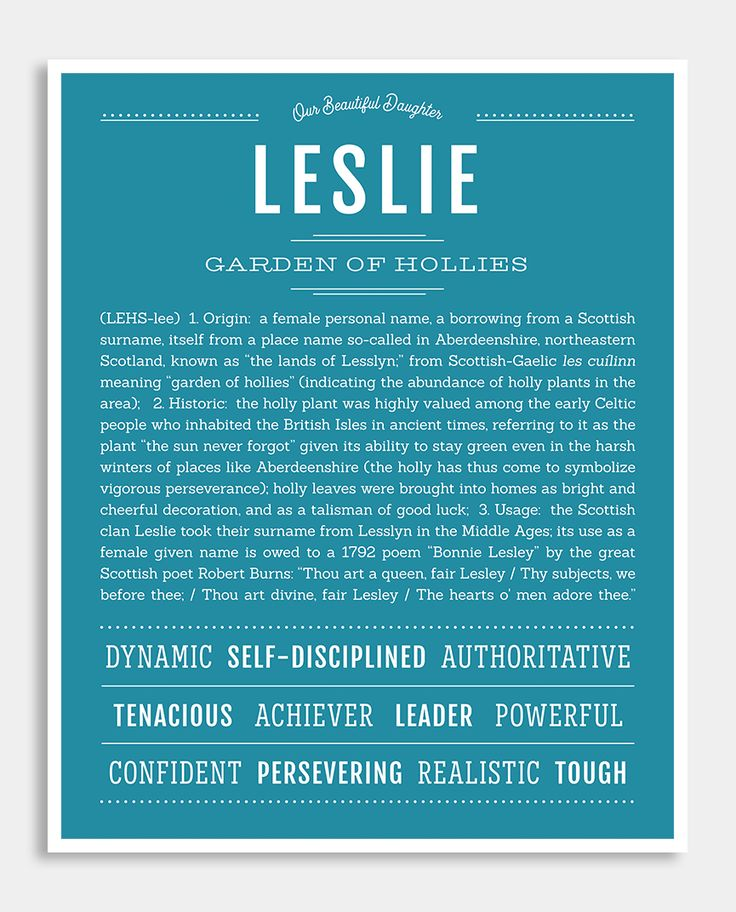 Leslie | Classic Name Print | Names with meaning, Classic ...