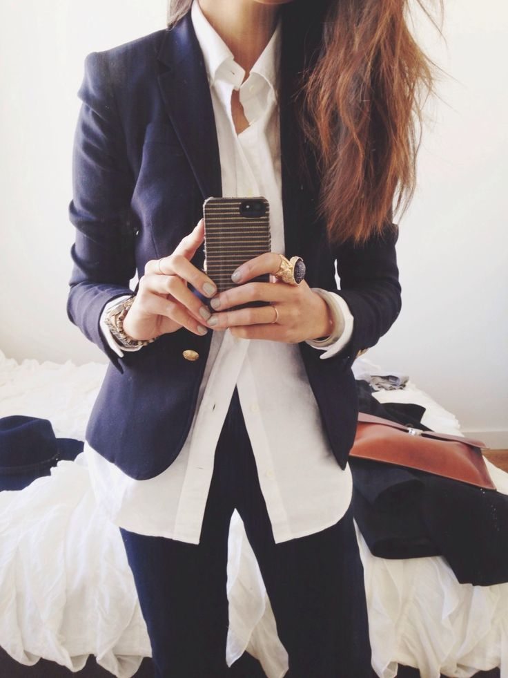 Like the navy blazer, white buttoned-down dark jeans (no ring) like how shirt is longer than blazer