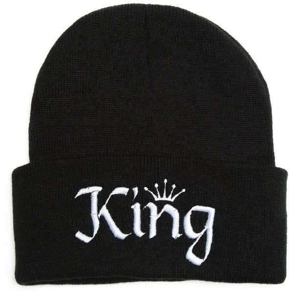 Beanie Bliss Mens King Hat Embroidered Beanie One Size Black ($20) ❤ liked on Polyvore featuring men's fashion, men's accessories, men's hats, king, mens beanie hats, mens beanie, mens hats and mens beanie caps