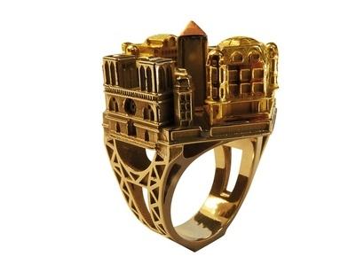 Rytm miasta - świetny pierścionek - gold ring