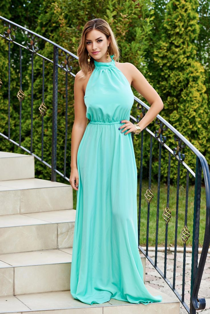 Rochie PrettyGirl Summer Delice Turquoise. Rochie maxi, de vara potrivita pentru…