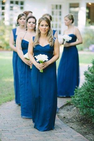 Long blue bridesmaids dresses | photography by http://www.julia-wade.com