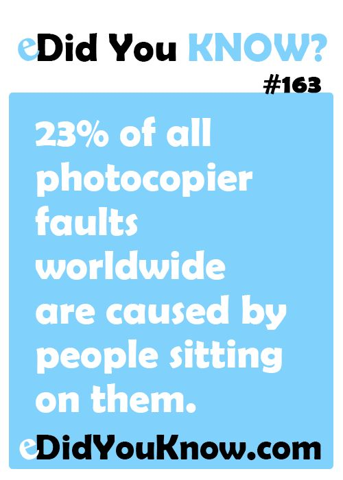 23% of all photocopier faults worldwide are caused by people sitting on them. #DidYouKnow