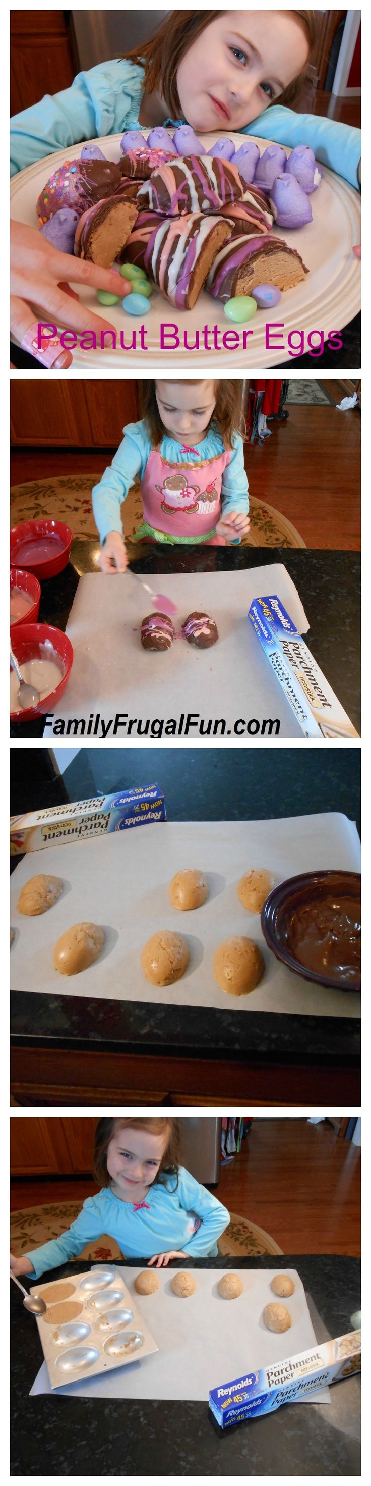 "Homemade Chocolate Covered Peanut Butter Easter Eggs. This is a ""no bake"" recipe that is so easy to make you can do it with your 4 year old like I did. Happy Easter!"