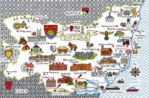 Map of Suffolk cross stitch kit