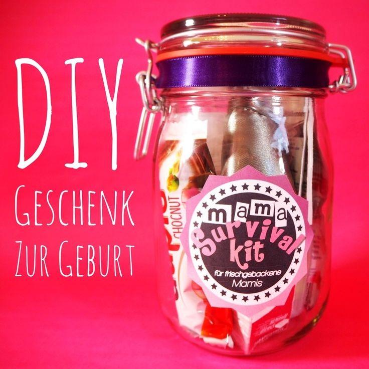 DIY Geschenk zur Geburt! Das Mama Survival Kit für frischgebackene Mamis + kostenlose Druckvorlage! Geschenk im Glas mit Freebie!