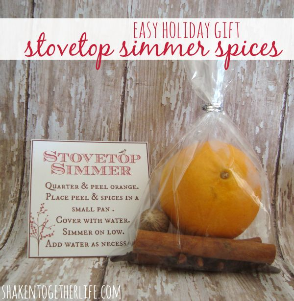 Stovetop simmer spices make a simple but fragrant holiday gift! A bright orange, cinnamon sticks, cloves and nutmeg tucked in a bag and tied with a tag!