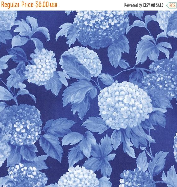 30 Off FABRIC SALE HYDRANGEAS Royal Blue 1/2 yd Moda Fabric tonal blender shabby quilt Victorian Summer Breeze Iii Sentimental Studios half