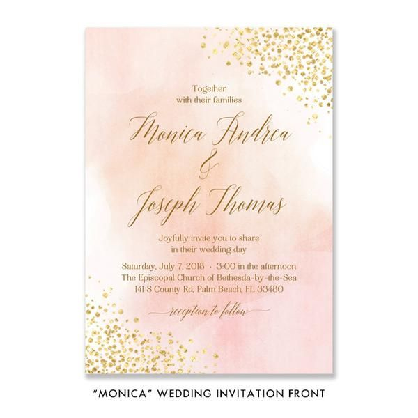 Blush Watercolor + Gold Foil Invitation 3 Pc Wedding Invitation Set Elegant Wedding Invitation Suite Watercolor Wedding Invites RSVP & Enclosure - Monica style 3 Piece Invitation Set, Romantic elegant Wedding Invitation Suite Wedding Invites with RSVP & Details Cards. Beautiful blush pink and gold foil details with modern calligraphy. Printed watercolor wedding invitations or printable wedding invites designed exclusively by Digibuddha.