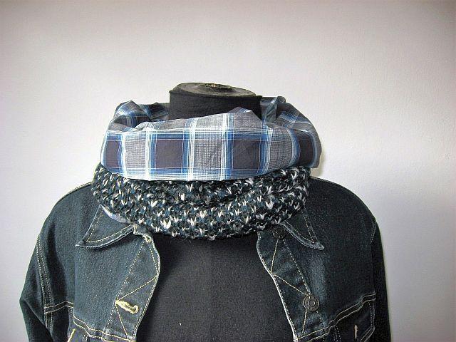 sciarpa ad anello/tubo uomo/donna unisex grigio blu : Sciarpe di janecolori