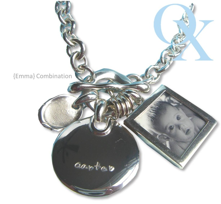 Emma Combination- Our classic lg chain with a signature pendant which is fully customizable with a large photo pendant and a mini oval peanut print (finger print impression). Just beautiful! www.lovelinx.ca