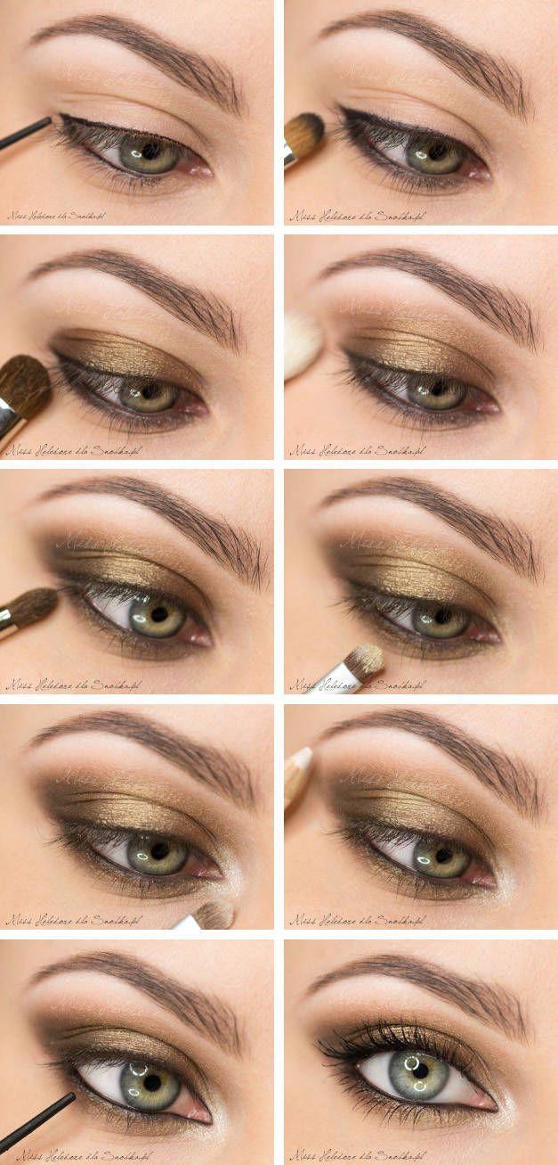 Makeup: smoky eye with gold - Olivia Wilde