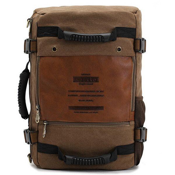 Men Canvas Travel Camping Outdoor Hiking Large Capacity Crossbody Handbag Backpa - US$39.99