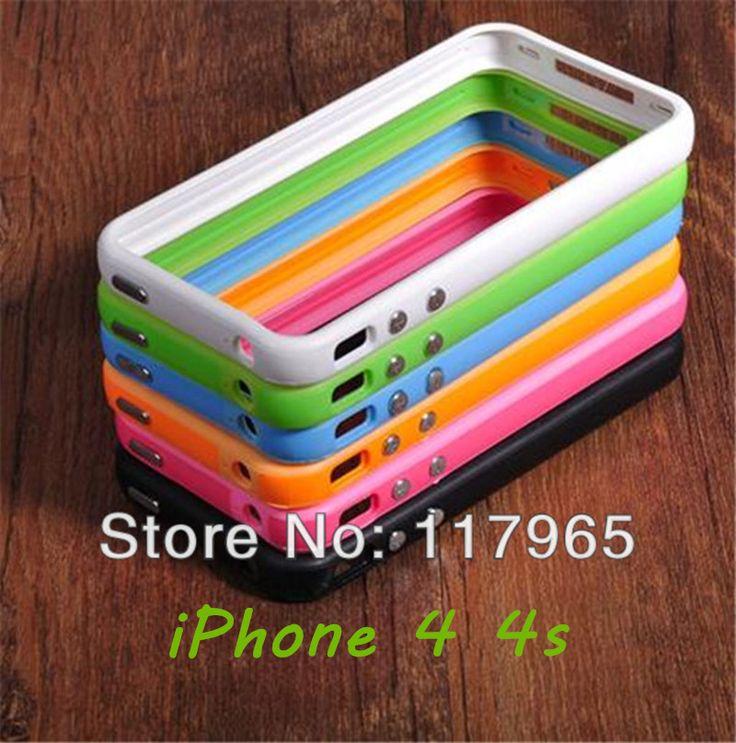 Best Quality Candy Color Flexible Bumper Frame TPU Silicone Case Cover  Bumper for Apple iPhone 4 4S Bumper EC053/EC057/EC071