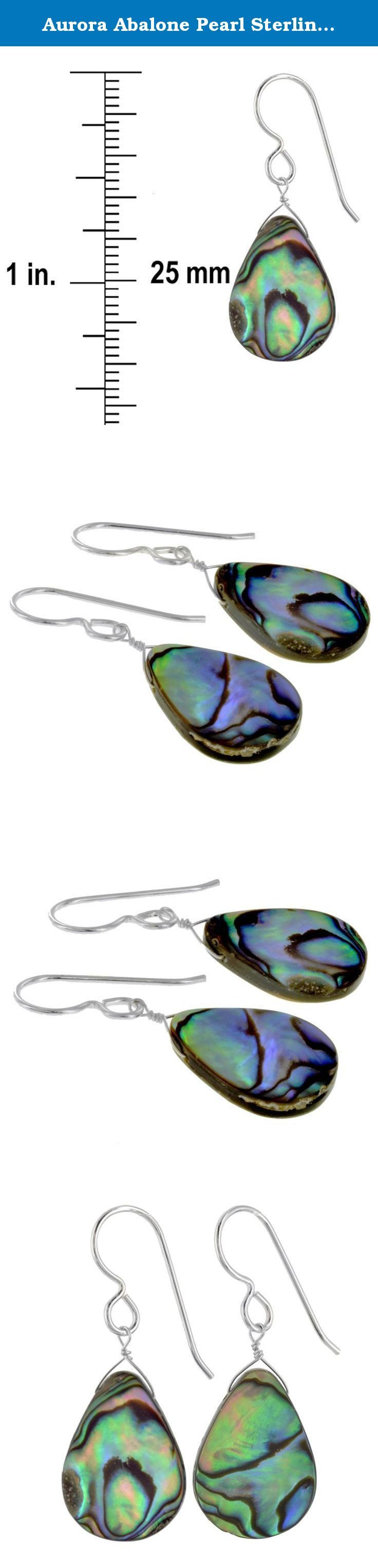Aurora Abalone Pearl Sterling Silver Handmade Earrings by Ashanti. Two beautiful Aurora Mother of Pearl gemstones take centre stage in this creation. Their colors bring to mind dancing northern lights as blue, green, purple and black twist and turn in a variety of patterns. This means that no 2 stones are alike, each one displaying a different dimension of nature's playfulness. Weighing approximately 8 carats in total, the Mother of Pearls are teamed with gleaming 925 Sterling Silver…