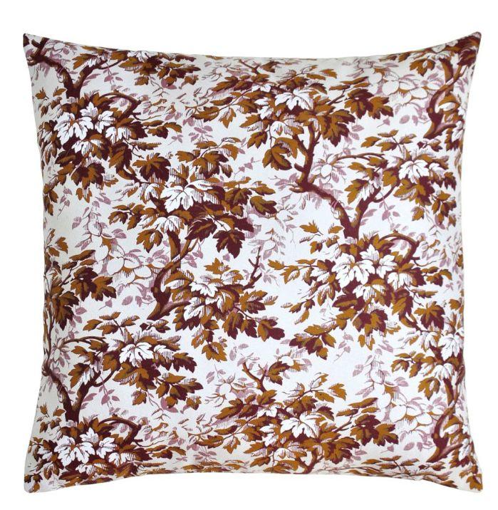 coussin, cushion, fleurs, Heritage Studio, linge de maison, marron, blanc, Madelaine
