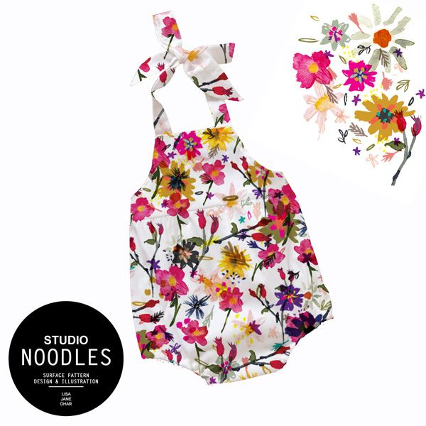 Baby Botanical Pattern Romper by Studio Noodles