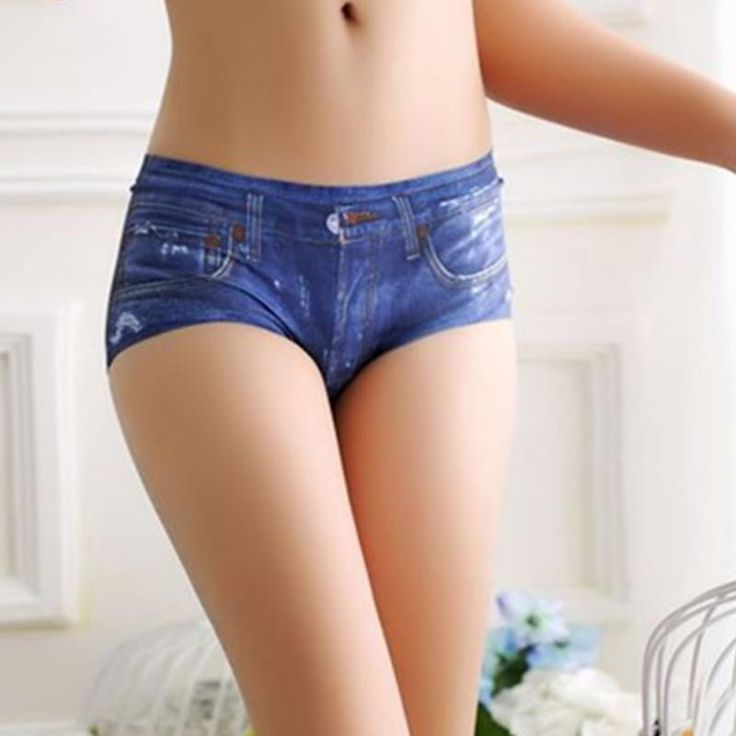 3D Underwear Sexy Crotchless Seamless Women's Briefs Jeans Printed Panties Cute Female Blue Underwear Panty Tanga Bragas