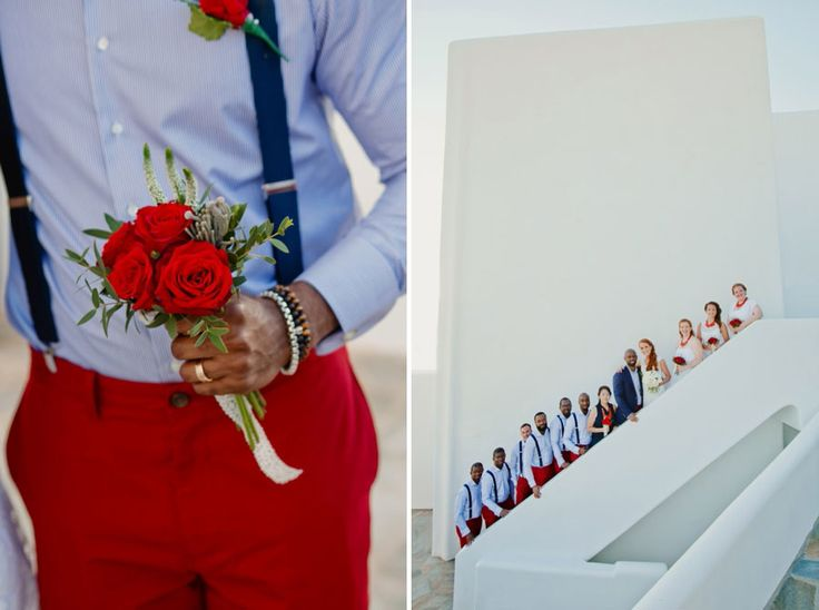 Apparently everybody got the memo for wearing red at this wedding! Red trousers for the groom and the best men to much the red roses in the bridal bouquet