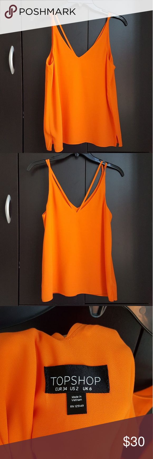 Topshop Orange V neck Strappy Cami - size us 2 Worn one, excellent condition. 100% polyester. Topshop Tops Camisoles