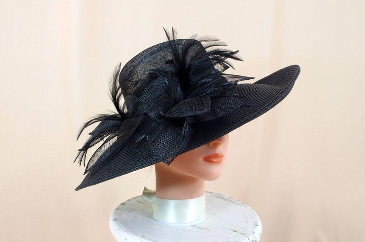 Kentucky Derby Hat * Elegant Black Sinamay Hat * Black Hat * Black Wide Brim Hat * Ascot Hat * Wedding Hat * Church Hat * Race Hat by SeasonalAccent on Etsy