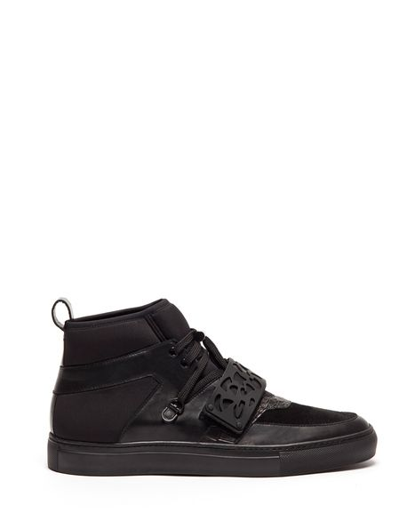 HIGH TOP TUDOR SNEAKERS IN LEATHER AND NEOPRENE WITH A LASER-CUT RUBBER ACCESSORY